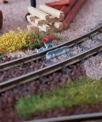 Bausatz Gleissperre Steinbach, links Nenngröße H0e