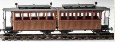 PMT/Technomodell 52414 - Schmalspur Reisezug Doppelwagen -braun-K.sä.St.E.B - Ep. I / VI - H0e
