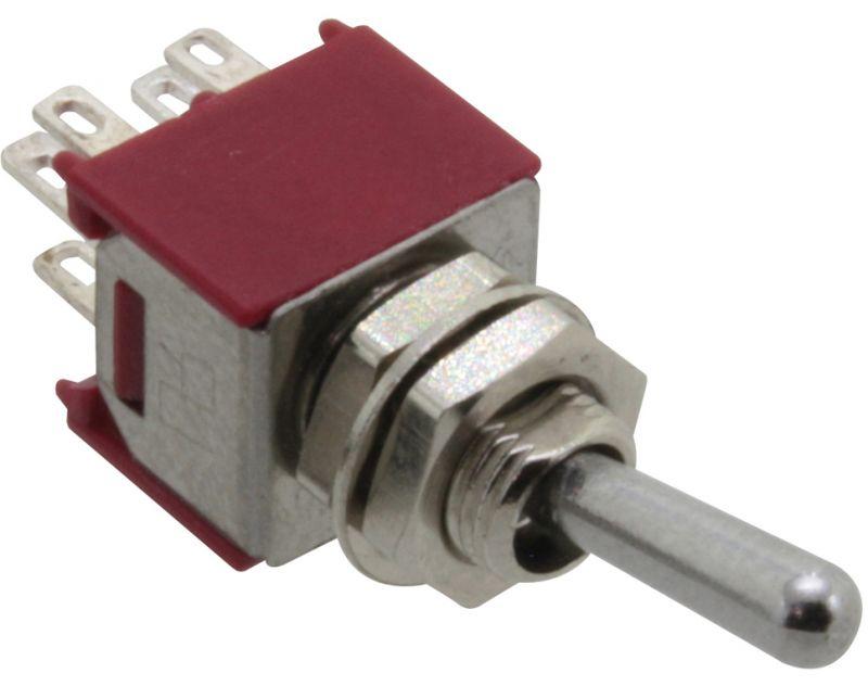 Donau Elektronik Miniatur Kippschalter, 2-pol., Umschalter mit Mittelstellung, ON-OFF-ON
