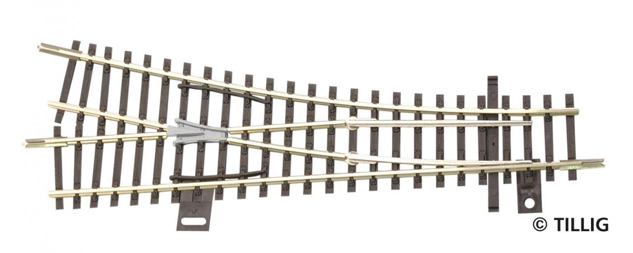Tillig 83323 gerade Rechtsweiche  15°, EW1, Metallherzstück, Spur TT (ersetzt Artikel Nr.: Tillig 83321)