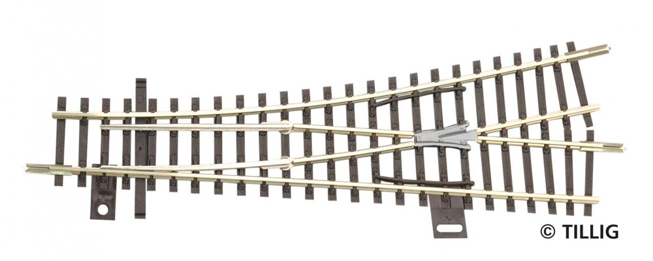 Tillig 83324  gerade Linksweiche 15°,EW1, Metallherzstück Spur TT (ersetzt Artikel Nr.: Tillig 83322)
