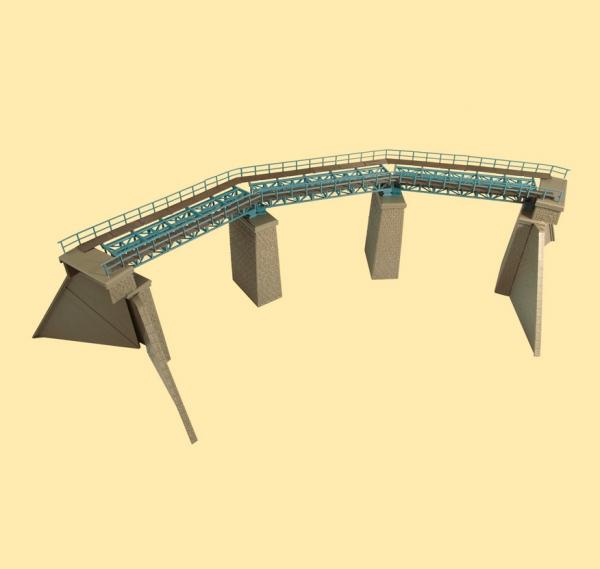 Auhagen Bausatz eingleis. Stahlbrücke im Bogen TT