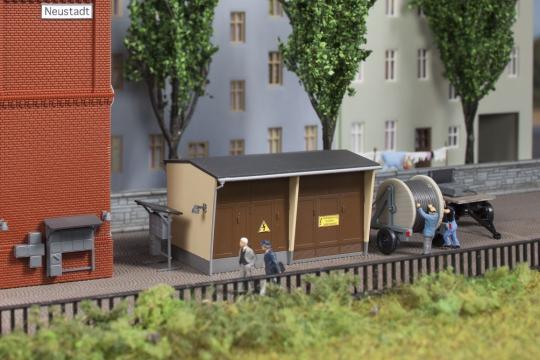 Auhagen Bausatz Trafostation mit Zubehör, Nenngröße TT (1:120)