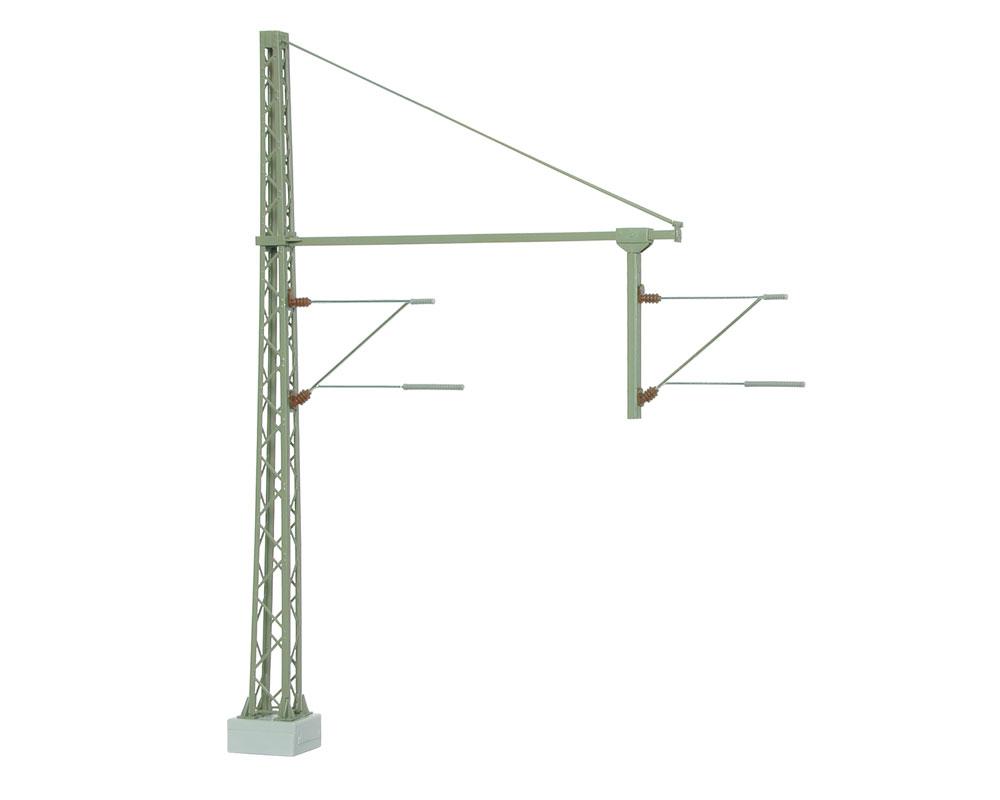 Viessmann Fertigmodell Oberleitung Gittermast mit Rohrausleger über 2 Gleise , TT