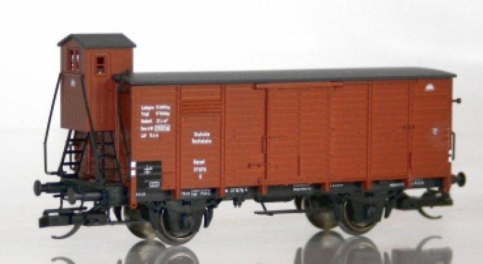 Flachdachgüterwagen Kassel mit  Bremserhaus, DRG, TT