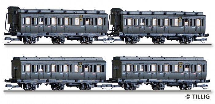 Tillig 4-tlg. Personenwagenset (preuss. Abteilwagen) der DRG, Ep.II, Spur TT
