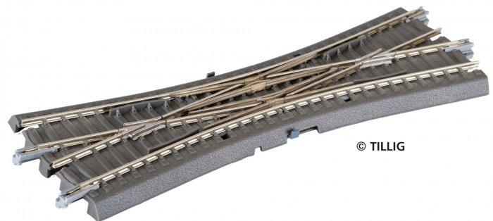 Tillig Bettungsgleis grau Doppelkreuzungsweiche ohne Antrieb, Spur TT