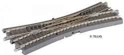Tillig 83792 Doppelkreuzungsweiche (DKW) ohne Antrieb Bettungsgleissystem grauer Bettungskörper, Spur TT