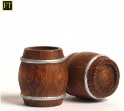 2 Holzfässer, bereift,  15x17mm Nenngröße H0