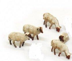 5 Schafe (Heidschnucke) Nenngröße H0 (1:87)