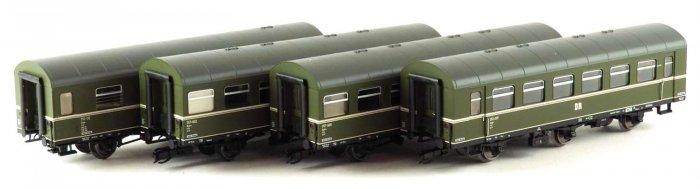 Kühn 4er Set 3-achs. Reko Personenwagen, DR, Ep.III,  Spur TT