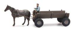 Artitec 387.361 Pferdewagen (Panjewagen) mit Pferd und Kutscher Nenngröße H0