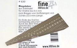 Biegelehre aus Edelstahl für Drähte bis Ø 0,5 mm