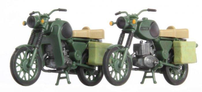 KRES 10271 Set 2 Motorräder MZ TS 250 NVA Militärgrün Nenngröße H0 (1:87)