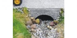 3 Stück Fertigmodell Wasserdurchlass Naturstein/Betonziegel (grau) Nenngröße H0, Maßstab 1:87