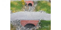 3 Stück Fertigmodell Wasserdurchlass Ziegel (rot) mittelgroß Nenngröße H0, Maßstab 1:87