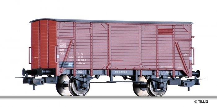 Tillig 76797 - Gedeckter Güterwagen mit Flachdach Gklm, DR, Epoche IV, Spur H0 (1:87)